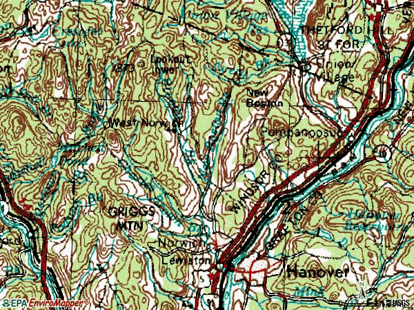 Zip code 05055 topographic map