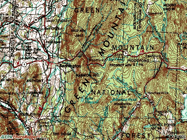 Zip code 05201 topographic map