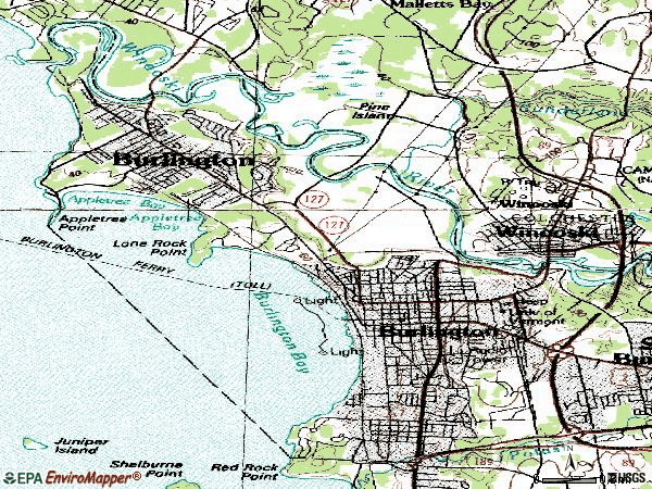 Zip code 05401 topographic map