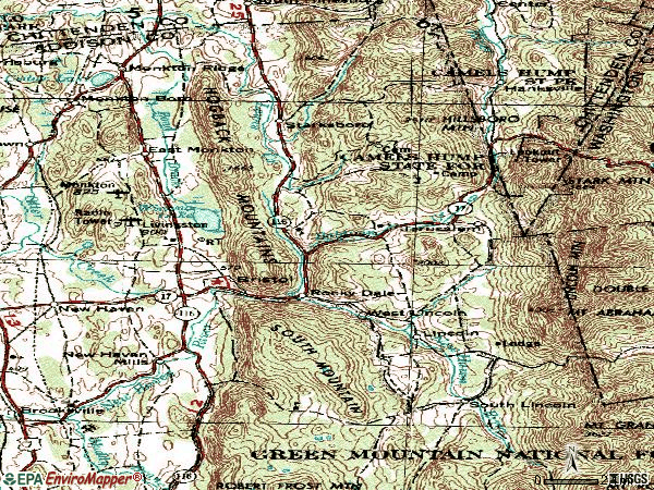 Zip code 05443 topographic map