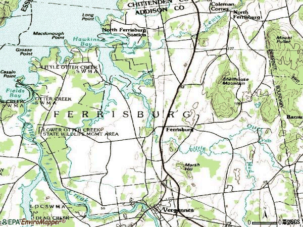 Zip code 05456 topographic map