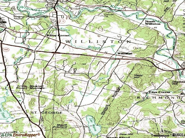 Zip code 05495 topographic map