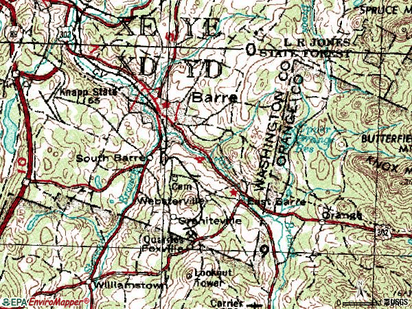 Zip code 05641 topographic map