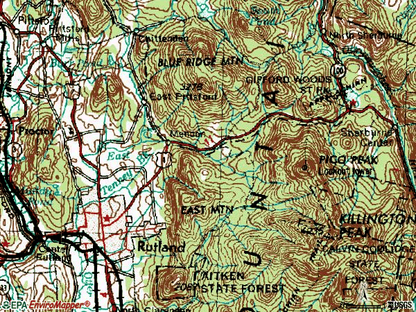 Zip code 05701 topographic map