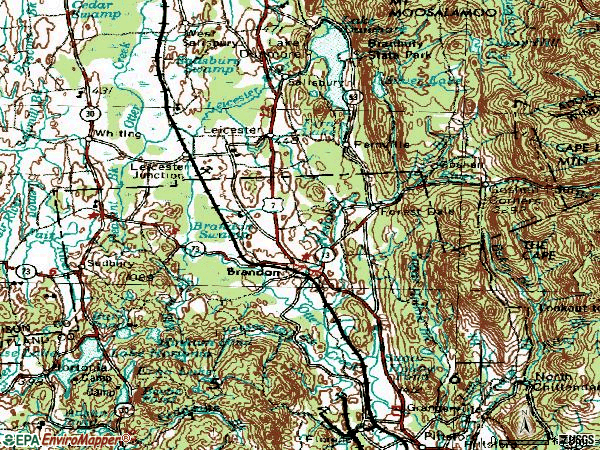 Zip code 05733 topographic map