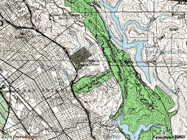 Zip code 94605 topographic map