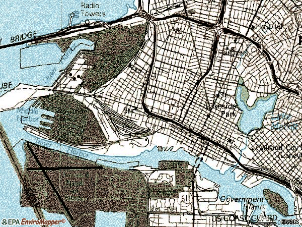 Zip code 94607 topographic map
