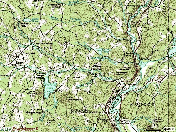 Zip code 05821 topographic map