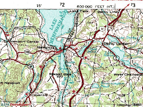 Zip code 05855 topographic map