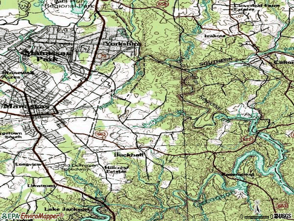 Zip code 20111 topographic map