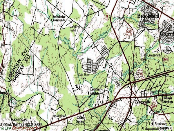 Zip code 20120 topographic map