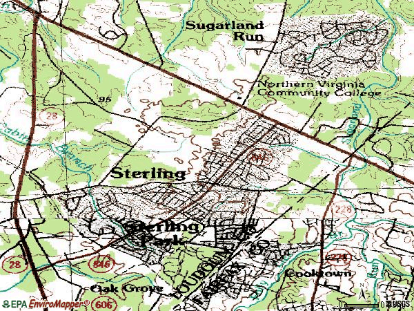 Zip code 20164 topographic map