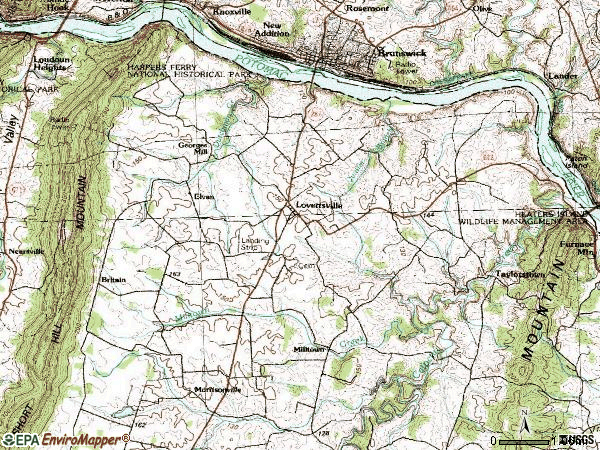 Zip code 20180 topographic map