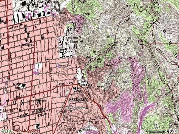 Zip code 94705 topographic map