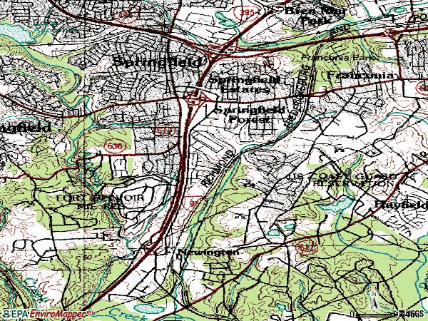 Zip code 22150 topographic map