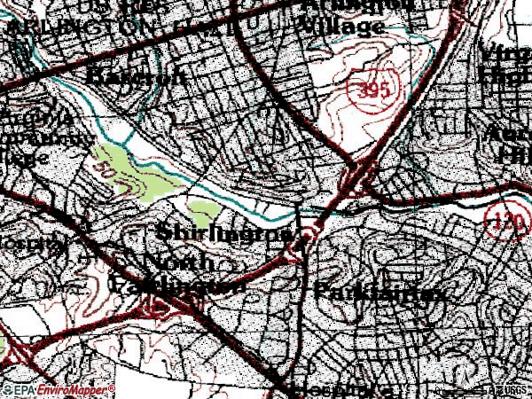 Zip code 22206 topographic map