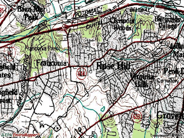 Zip code 22310 topographic map