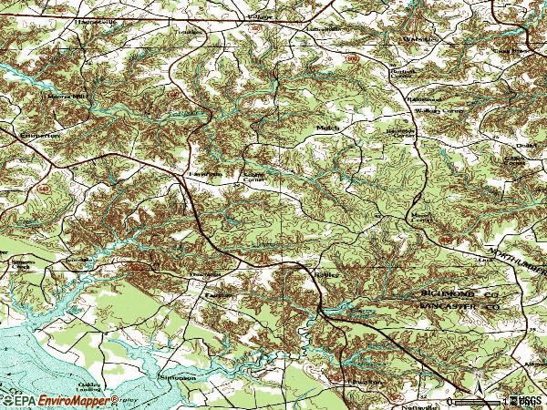 Zip code 22460 topographic map