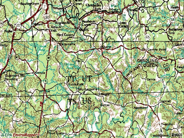 Zip code 22514 topographic map