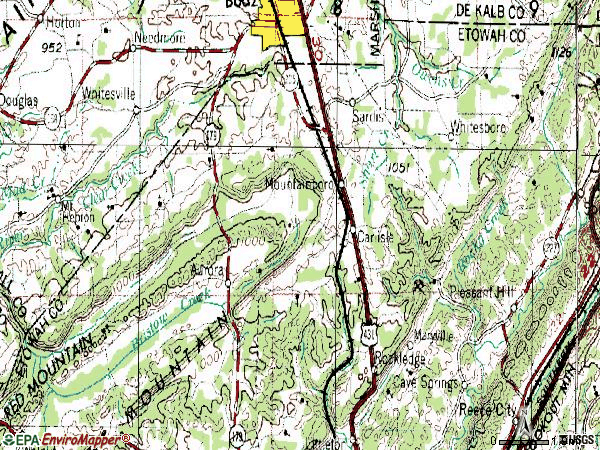 Zip code 35956 topographic map