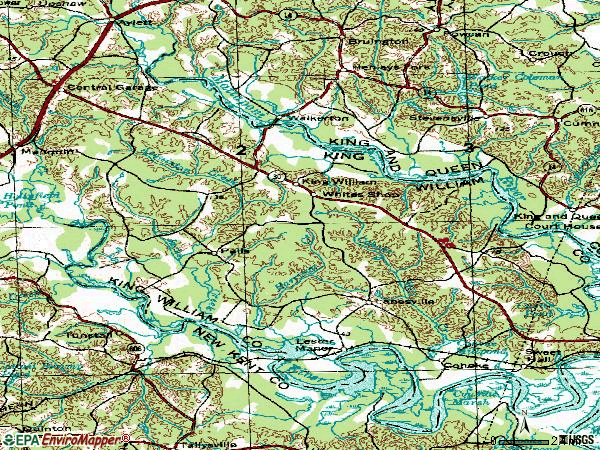 Zip code 23086 topographic map