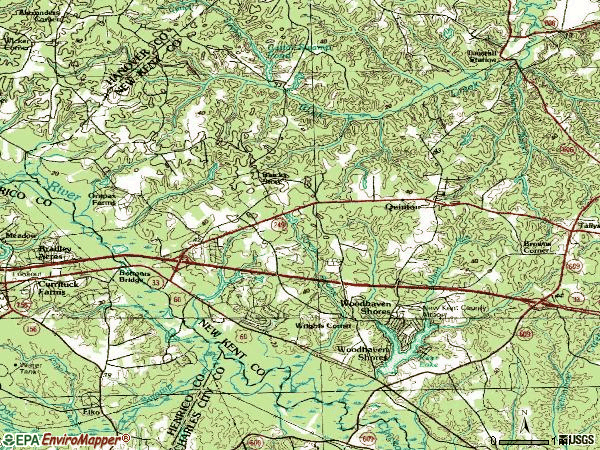 Zip code 23141 topographic map