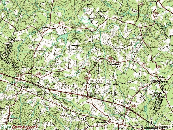 Zip code 23146 topographic map