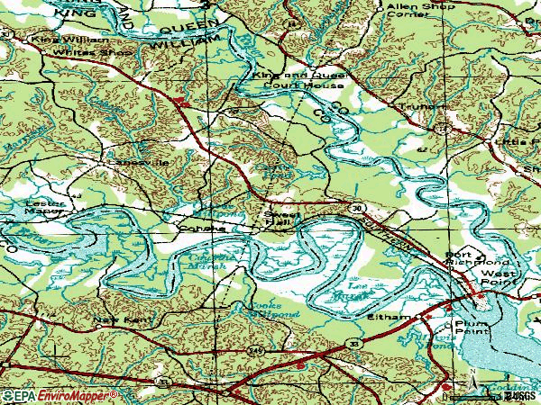 Zip code 23181 topographic map
