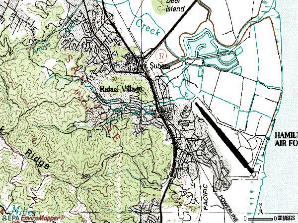 Zip code 94949 topographic map