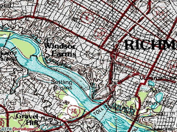 Zip code 23221 topographic map