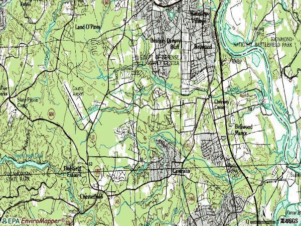 Zip code 23237 topographic map