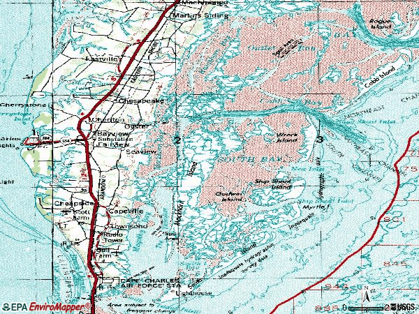 Zip code 23310 topographic map