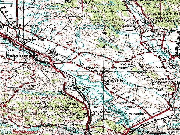 Zip code 94954 topographic map
