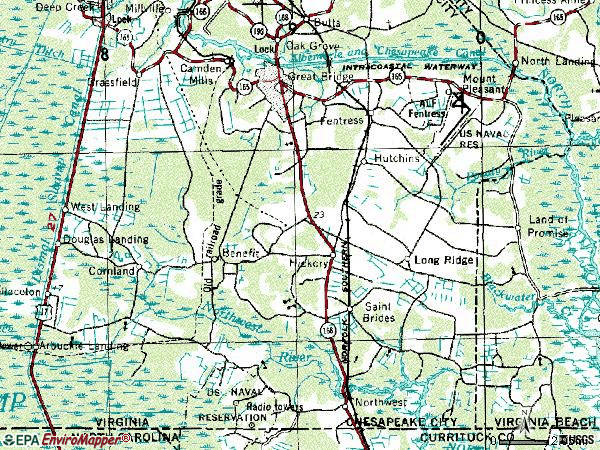 Zip code 23322 topographic map