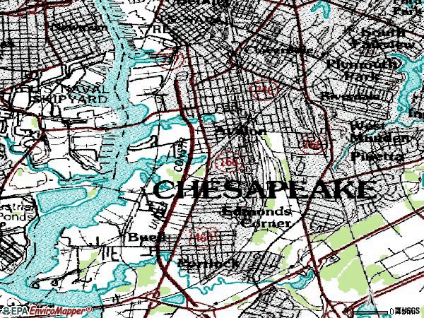 Zip code 23324 topographic map