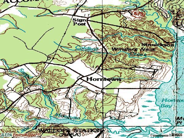 Zip code 23395 topographic map