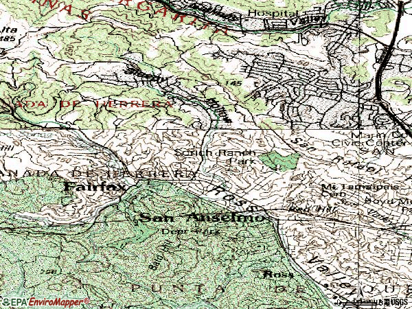 Zip code 94960 topographic map