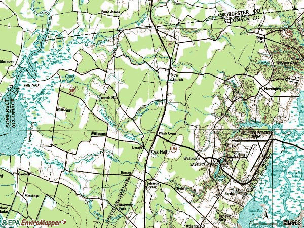 Zip code 23415 topographic map