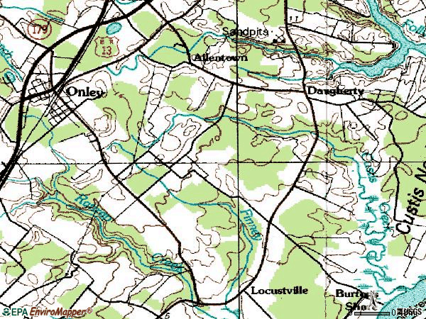 Zip code 23418 topographic map