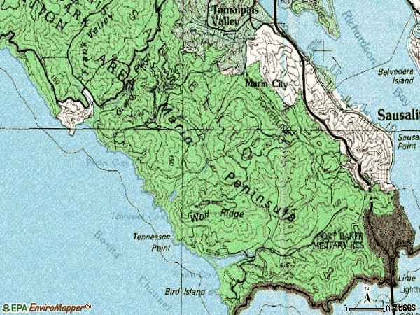 Zip code 94965 topographic map