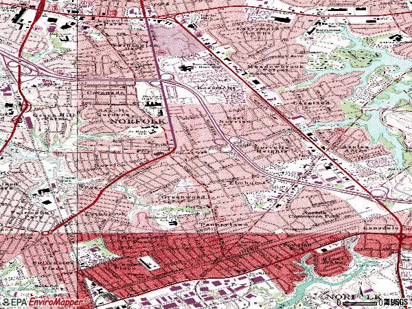 Zip code 23513 topographic map