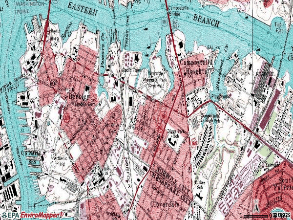 Zip code 23523 topographic map