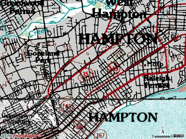 Zip code 23661 topographic map