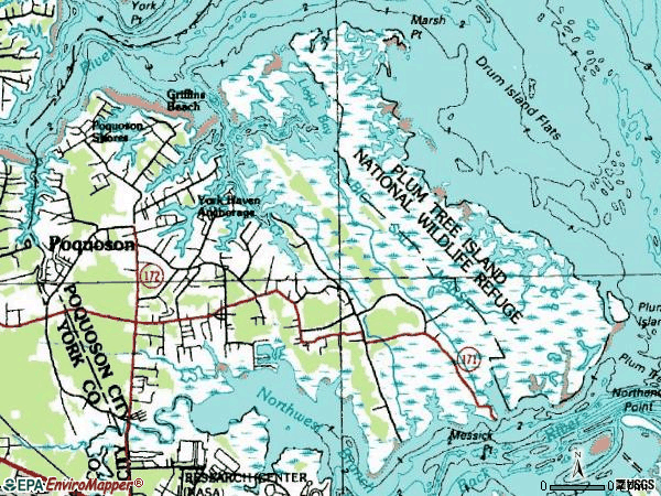 Zip code 23662 topographic map