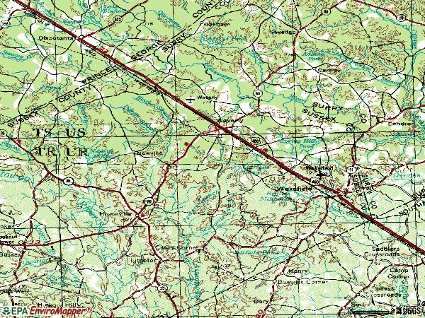 Zip code 23890 topographic map