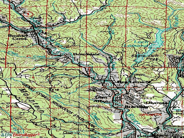 Zip code 95005 topographic map
