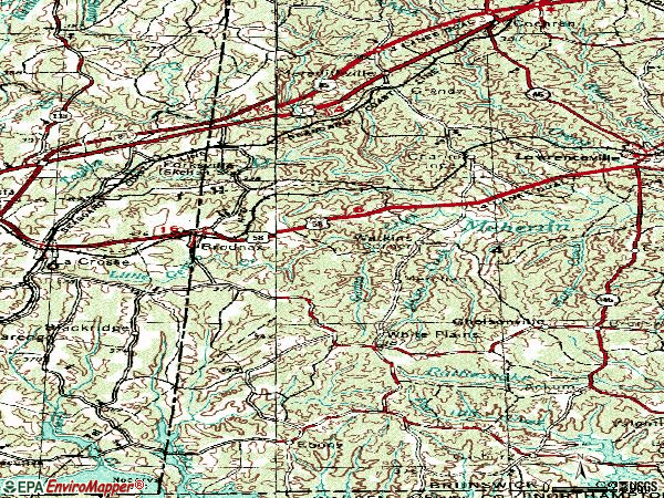 Zip code 23920 topographic map