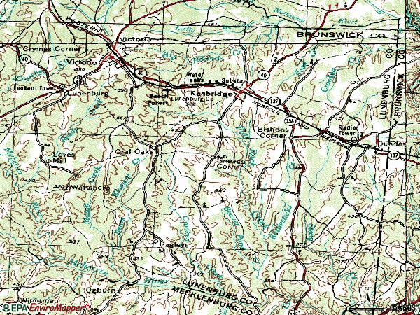 Zip code 23944 topographic map