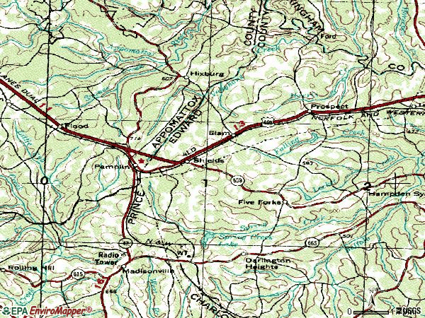 Zip code 23958 topographic map