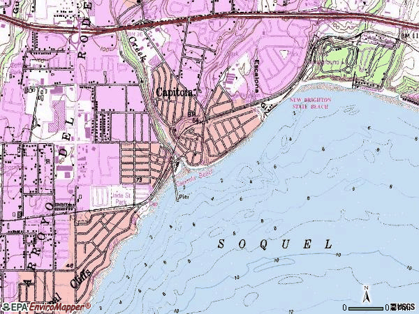 Zip code 95010 topographic map